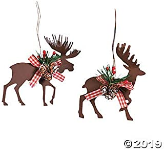 Fun Express Metal Die Cut Moose & Deer Christmas Ornaments - (6 Pcs./Set) 3 1/2