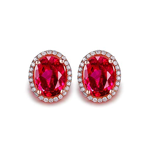 Beydodo Pendientes Mujer Oro Rosa,Pendientes Oro Rosa 18k Oval con Turmalina Roja 2.6ct
