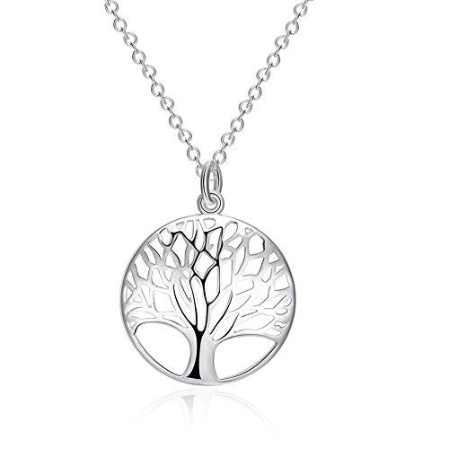 YAZILIND joyeria moda simple 'arbol de la vida' en forma de plata collar colgante plateado para mujeres ninas