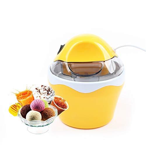 JUZEN Mini DIY Elektrische Automatische Softeismaschine Haushalt Kühle Frucht Eismaschine Haushalt Gefrorene Dessert Maker 0.5L,Yellow
