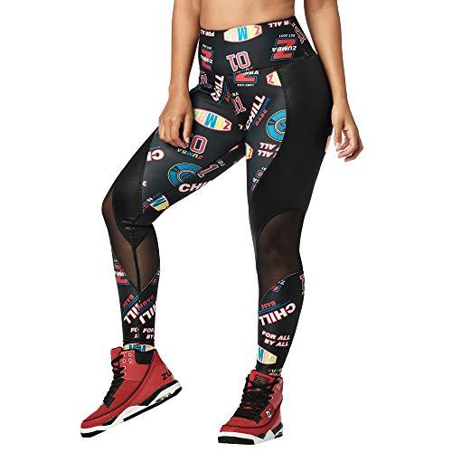 Zumba Dance Trainingshose Damen Sexy Leggings mit Atmungsaktiven Mesh-Einsätzen, Bold Black D, S