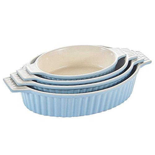 MALACASA, Series Bake, Set da 4 Teglia da Forno (9.5'/11.25'/12.75'/14.5'), Teglia Ovale con Manici in Ceramica Ideali per Lasagne/Torta/Casseruola/Tapas, Blu