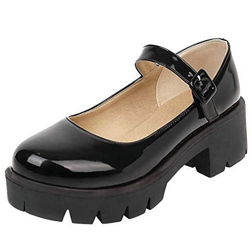 Etebella Damen Gothic Lolita Mary Janes Platform Halbschuhe Lack Riemchen Blockabsatz Pumps Runde Zehen Uniform Shoes (Schwarz,34)