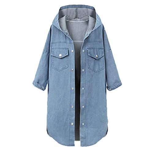 Preisvergleich Produktbild Lulupi Damen Jeansjacke mit Kapuze,  Winterjacke Denim Jeans Jacket Lange Jeansmantel Große Größe Kapuzenjacke Hoodie Übergangsjacke