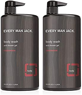 Every Man Jack Men's Body Wash - Cedarwood | 33.8-ounce Twin Pack - 2 Bottles Included | Naturally Derived, Parabens-free,...