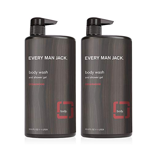 Every Man Jack Men's Body Wash - Cedarwood | 33-ounce Twin Pack - 2 Bottles Included | Naturally Derived, Parabens-free, Pthalate-free, Dye-free, and Certified Cruelty Free