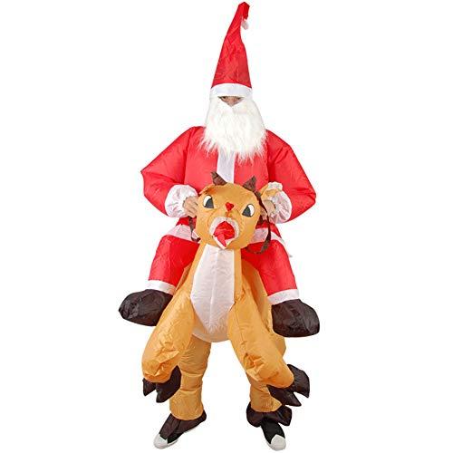 LINAG Halloween Aufblasbares Kostüm Erwachsene Aufblasbare Lustige Kleid Costume Party Cosplay Outfit Aufblasbare Weihnachtsmann Kostüm Rentierhalterung Festival Party,A,OneSize