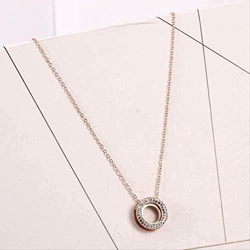 AOAOTOTQ Co.,ltd Collar Europa y Estados Unidos Collar de clavícula con Incrustaciones de Anillo de Tres Capas Collar con Colgante de Diamantes Completo Deslumbrante Mujer