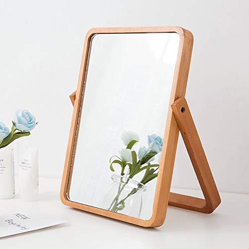卓上ミラー 化粧ミラー メイクミラー 360度回転 天然木 壁掛け可 角度調整対応 (イエロー)