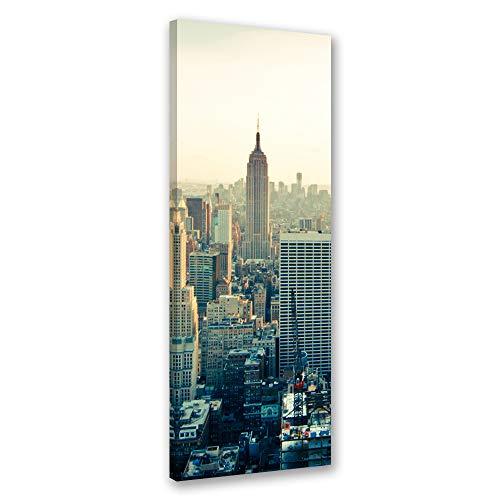 Feeby canvasfoto deco panel poster frame metalen poster New York architectuur Leinwandbild 30x90 cm beige