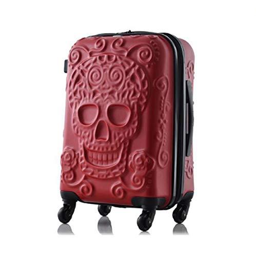KGDUYH Maleta Maleta de cráneo Barato de 20'24' 28'Pulgadas llevarse en la Bolsa de Equipaje de la Caja de la Carretilla para Viajar para Viajes de Negocios (Color : Red, Luggage Size : 28')