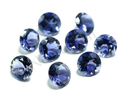Neerupam Collection Bleu Naturelle Orissa Indien Lolite AAA Qualité 3 mm Coupe Brillante Rond Caillou