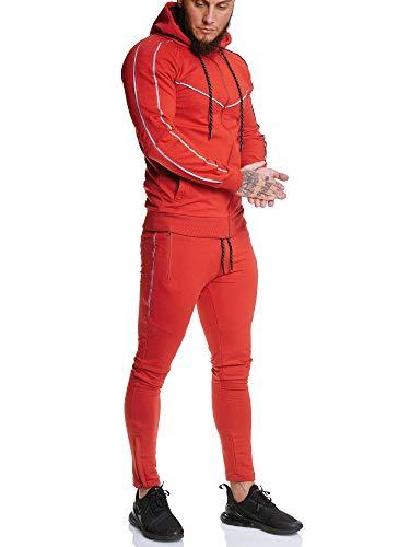 OneRedox | Herren Trainingsanzug | Reflektor Jogginganzug | Sportanzug | Jogging Anzug | Hoodie-Sporthose | Jogging-Anzug | Trainings-Anzug | Jogging-Hose | Modell JG-13106 Rot XL