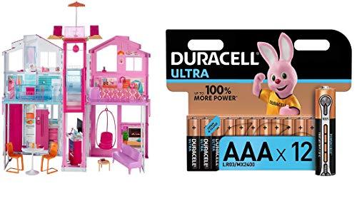 Barbie-la Casa di Malibu per Bambole con Accessori e Colori Vivaci, Giocattolo per Bambini 3+ Anni, 18 x 41 x 74.5 cm, DLY32 + Pacco Pile