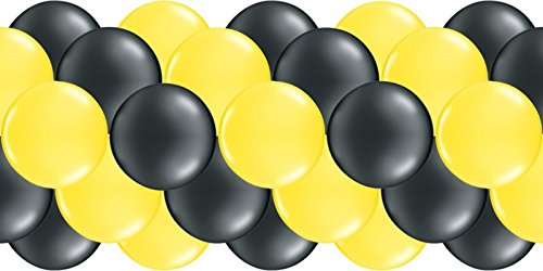 partydiscount24 Luftballongirlande Gelb & Schwarz 3 Meter