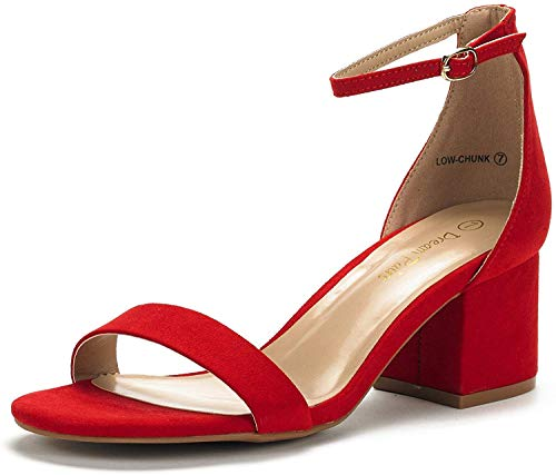 DREAM PAIRS Women's Low-Chunk Red Suede Low Heel Pump Sandals - 8 M US