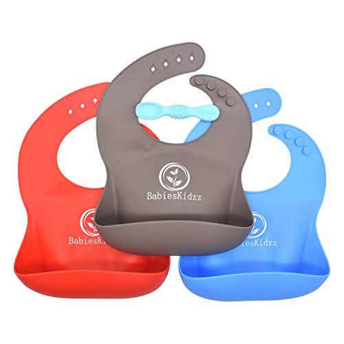 Baby-Lätzchen super weichen Silikon Baby-Lätzchen für Baby feeding.Premium Baby-Lätzchen für Ihre hübschen kids.Easy zu reinigen Baby-Lätzchen in 3 Baby Lätzchen & kostenloser Löffel(Blue/Red/Grey)
