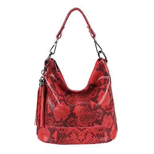 Damen Echtleder Tasche Handtasche Schultertasche City Bag Cross-Over Umhängetasche Henkeltasche Ledertasche Damentasche Schlangen-Prägung Python Muster Fransen Anhänger Rot