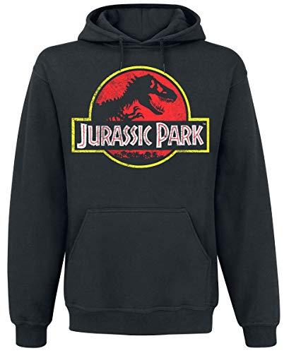 Jurassic Park Distressed Logo Hombre Sudadera con Capucha Negro XXL