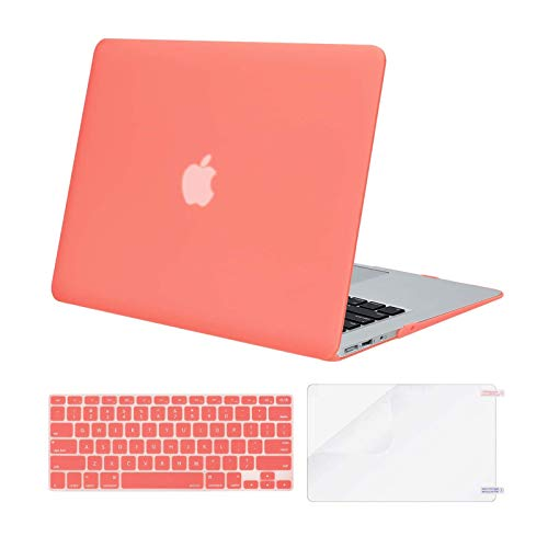 MOSISO Compatible with MacBook Air 13 inch Case (Models: A1369 & A1466, Older Version 2010-2017 Release), Protective Plastic Hard Shell Case & Keyboard Cover & Screen Protector, Living Coral