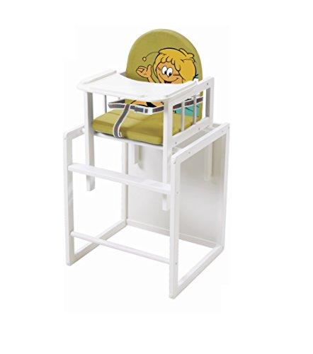 roba Kombi-Hochstuhl, Kinderhochstuhl mit Essbrett wandelbar zu Tisch & Stuhl, Holz Hochstuhl weiß, Sitz gepolstert 'Biene Maja'