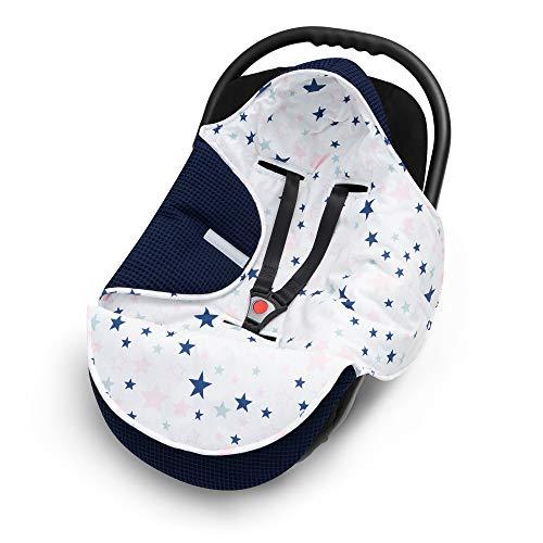EliMeli EINSCHLAGDECKE für Babyschale Baby Decke für Autositz und Kinderwagen aus Waffelstoff und Baumwolle mit Füllung, universal z.B. Maxi Cosi Kinderwagendecke (Marineblau - Sterne)