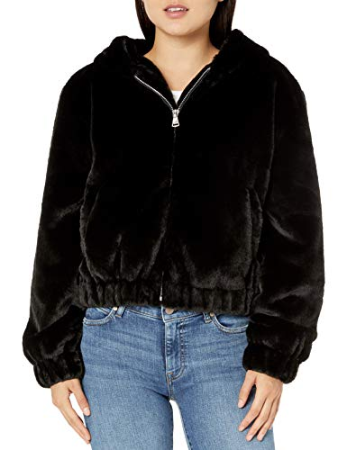 The Drop Women's Sloane Faux Fur Zip Front Hooded Bomber Jacket