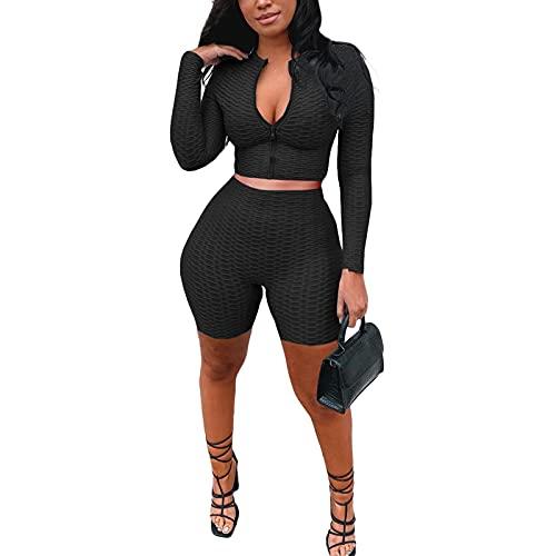 Conjunto de 2 piezas de chándal Y2K para mujer, manga larga sólida con cremallera y pantalones cortos de yoga de cintura alta, Negro, M