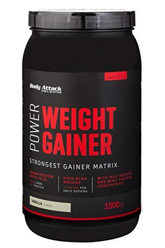 Body Attack Power Weight Gainer, 100% Masseaufbau, Kohlenhydrat-Eiweißpulver zum Muskelaufbau mit Whey-Protein, ideal für Hardgainer (Vanilla, 1,5 kg)