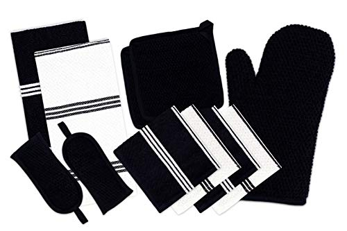 DAILY HOME ESSENTIALS - 11 Pack Cotton Terry Kitchen Linen Set Kitchen Towels Dish Cloth Oven Mitt Pot Holder Pan Handle Sleeves Black  Ideal for All Kitchen Household Tasks