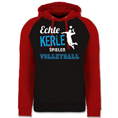 Shirtracer Volleyball - Echte Kerle Spielen Volleyball - XXL - Schwarz/Rot - Fun - JH009 - Baseball Hoodie