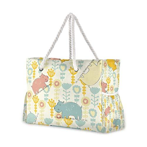 Montoj - Bolsa para la playa, diseño de hipopótamo