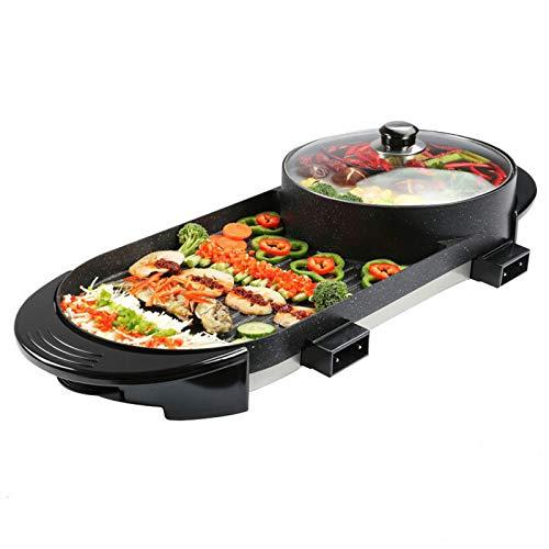 2 in 1 tragbarer elektrischer Hot Pot Grill, tragbarer elektrischer Grill, multifunktionaler Teppanyaki-Grill im Innenbereich / koreanischer Grill, 3,6 l Kapazität für , Doppelherd (1500 W * 2)