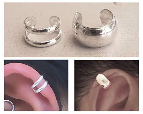Set of 2 Sterling Silver Small Ear Cuffs, Cartilage Earrings, Double Band Ear Cuff, Wide Ear Cuff, Non Pierce Ear Cuff, Silver Ear Wrap, Handmade Ear Cuff