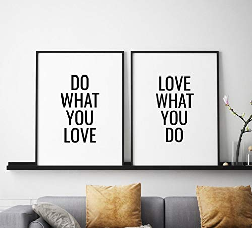 Wood Framed Sign 16x20'' Wooden Prints Printable Do What You Love Love What You Do Printable Art Set of 2 Motivational Quote Prints Inspirational Wall Art Print Set Wood Signs for Home Decor Quotes