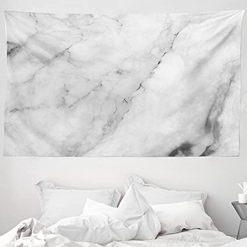 ABAKUHAUS Marmor Wandteppich & Tagesdecke Granit Oberfläche Motivaus Weiches Mikrofaser Stoff 230 x 140 cm Wand Dekoration Grauer Staub weiß