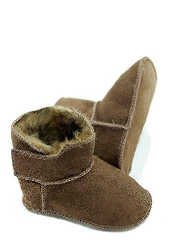 DX-Exclusive Wear Lammfellschuhe Babyschuhe, Stiefel, Klettverschluss, Echt Fell Schuhe Krabeln, Hausschuhe Baby ADB-0001 Madchen, Jungen, Leder (20/21, braun)