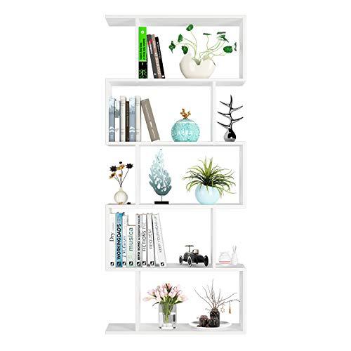 Homfa Librería Estantería Estantería para Libros Librería de Pared con Estantes Blanco (70x23.5x159cm)