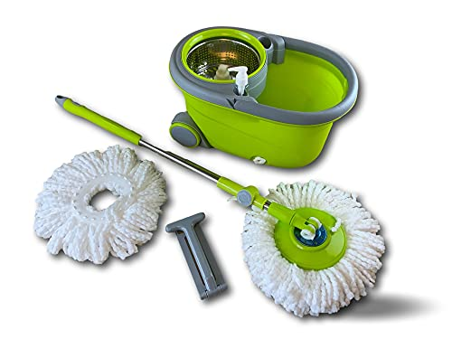 Kit de cubo escurridor giratorio easy mop con escoba | Permite lavar y secar el suelo | Dispone de 1 recarga de microfibra | Mango telescópico | Disco giratorio 360º | Mango antideslizante