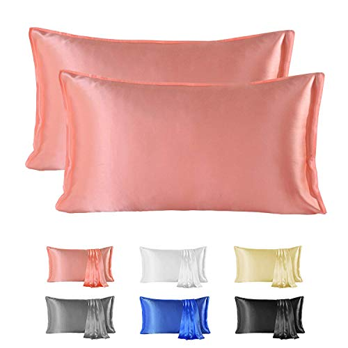 Since Silk Fundas de Almohada de Seda 100% Morera Natural 22 Momme, Suaves y Cuidado de la Cabello Funda de Almohada de Seda 2 Piezas Pink (50 * 66cm)