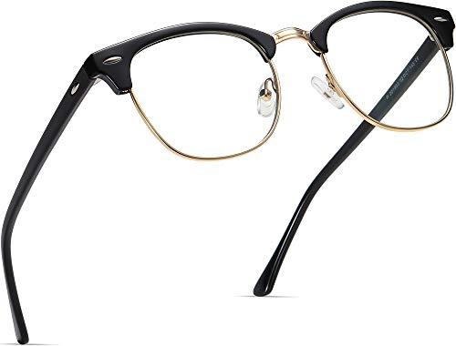 AOMASTE Blue Light Blocking Glasses Retro Semi Rimless UV400 Clear Lens Computer Eyewear for Men Women