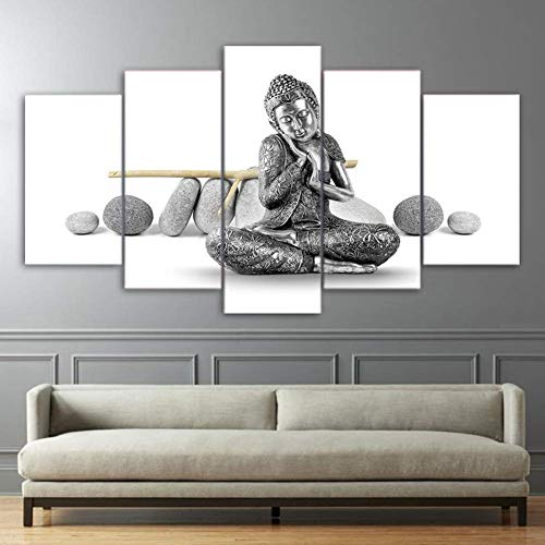 OPARYY Artworks 5 Piece Canvas Painting Silver Buddha Statue HD Wall Art Prints on Canvas Posters for Living Room Home Decor,B,30X50X2 30X70X2 30X80X1
