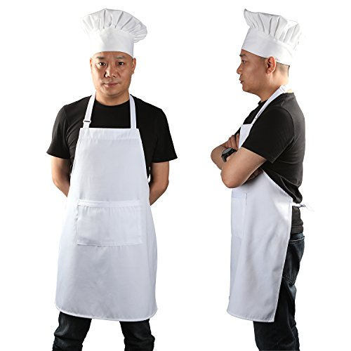 Yotache Chef Apron Set, Chef Hat and Kitchen Apron Adult Adjustable White Apron Baker Costume for Men and Women, 1 Set (33'L x 26'W)
