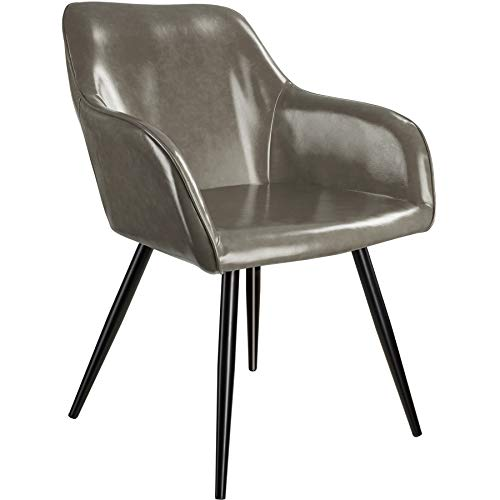 tectake 800848 Silla de Comedor tapizada en Piel sintética, Silla Elegante para el salón, Sillón para la Cocina, Mueble de Interior (Gris Oscuro-Negro)