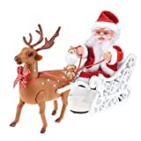 LALALY Electric Santa Claus Singing and Dancing in Sleigh with Reindeer Christmas Plush Moving Figurine Toys - Holiday Ornaments Decoration Battery Operated Musical Interactive Doll Gift for Kids
