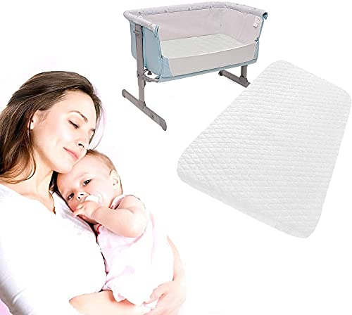 ITRAT® Next2Me Chicco Baby Bedside Crib Foam Mattress |Compatible With Next To Me Sleeping Toddler Infants Cot Mattresses | Hypoallergenic & Quilted | Breathable & Washable Cover (83 x 50 x 5 cm)
