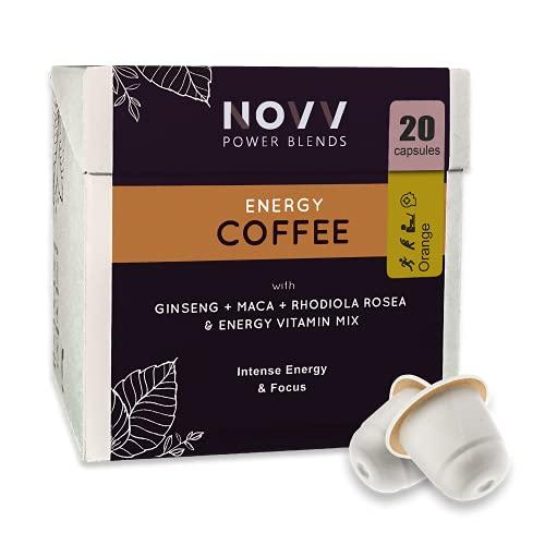 NOVV Power Blends ENERGY COFFEE - Bevanda energetica 100% caffè - 150 mg di Caffeina, 8 Vitamine, Maca, Rhodiola Rosea, Ginseng - 20 Capsule Nespresso. Gusto Arancia