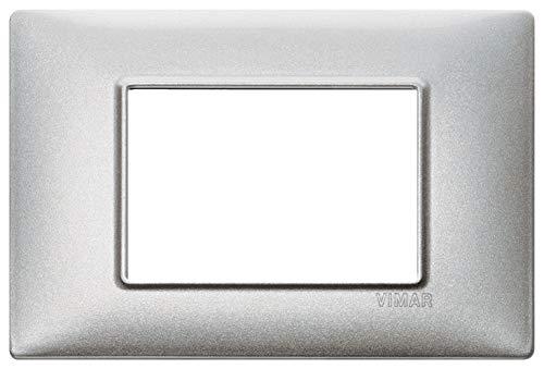 VIMAR 14653.71 Serie Plana Placca 3 Moduli Argento Metallizzato