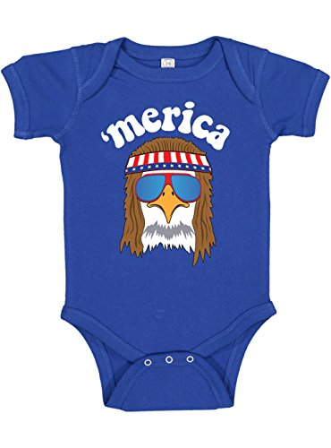 Panoware Funny Baby Boy 4th of July Bodysuit | Merica Eagle America (6-12 M, Royal)