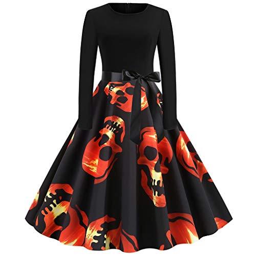 FRAUIT Vestiti Halloween Donna Abito Ragazza Anni 50 Swing Abito Lungo Cerimonia Abiti Autunnali Elegantissimi Vestiti Eleganti Invernali Manica Lunga Vestito Lungo Maniche Lunghe